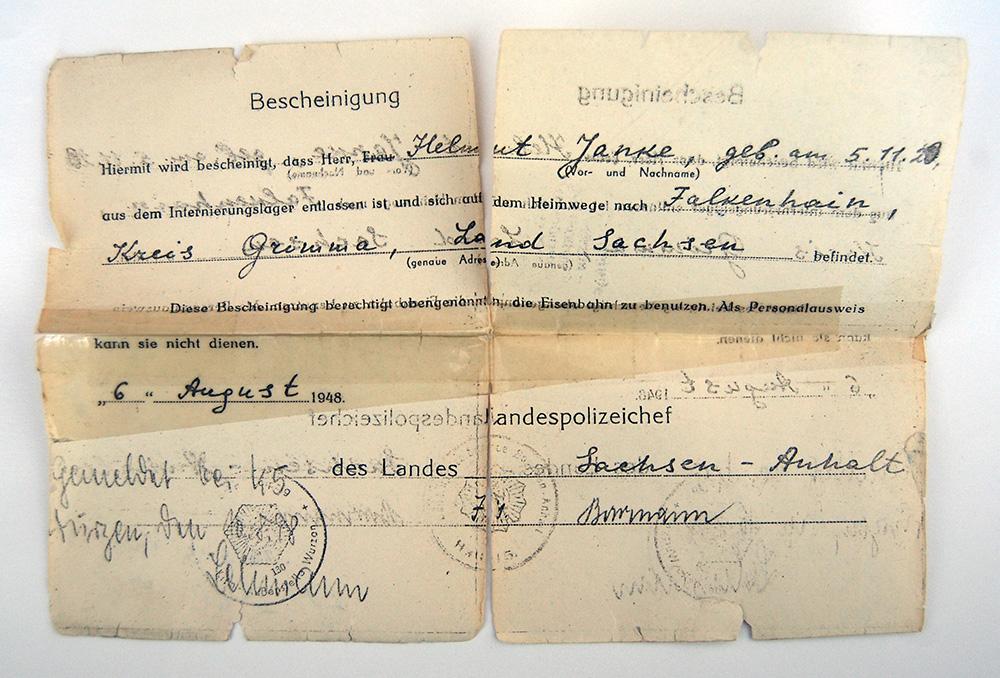 Dokument: Entlassungsbescheid für Helmut Janke vom 6. August 1948