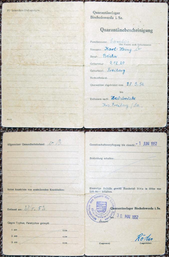 Dokument: Über seinen Aufenthalt im Quarantänelager wird Karl-Heinz eine Bescheinigung ausgehändigt, Mai 1952